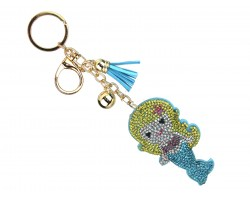 Multi Mermaid Crystal Puffy Key Chain