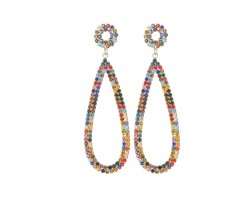 Multi Crystal Teardrop Dangle Post Earrings