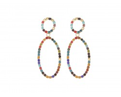 Multi Crystal Oval Dangle Post Earrings