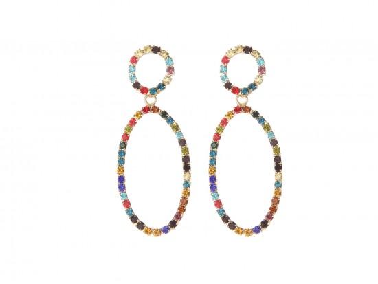 Multi Crystal Oval Dangle Post Earrings