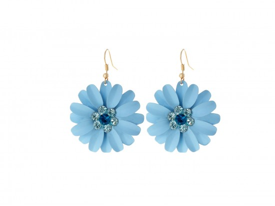 Aqua Blue Crystal Daisy Flower Gold Hook Earrings