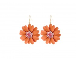 Coral Crystal Daisy Flower Gold Hook Earrings