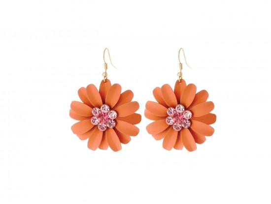 Coral Crystal Daisy Flower Gold Hook Earrings