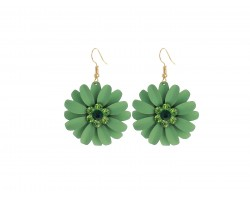 Green Crystal Daisy Flower Gold Hook Earrings