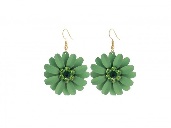 Green Crystal Daisy Flower Gold Hook Earrings