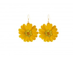 Orange Crystal Daisy Flower Gold Hook Earrings