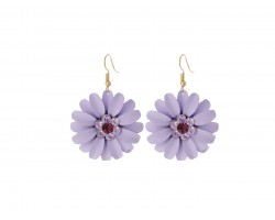 Violet Purple Crystal Daisy Flower Gold Hook Earrings