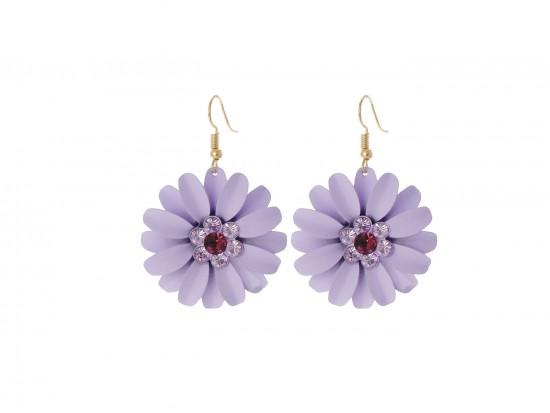 Violet Purple Crystal Daisy Flower Gold Hook Earrings