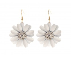 White Crystal Daisy Flower Gold Hook Earrings