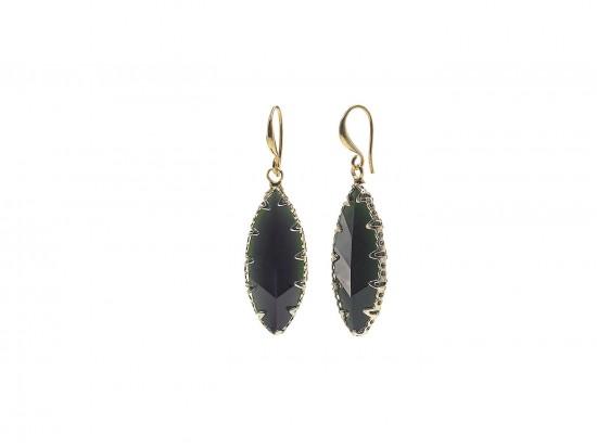 Black Crystal Marquise Gold Hook Earrings