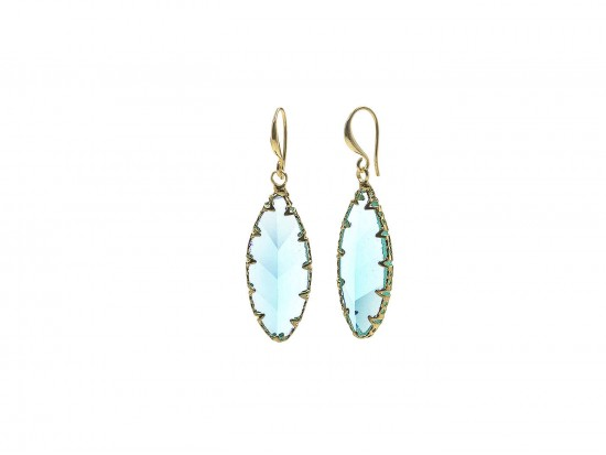 Zircon Blue Crystal Marquise Gold Hook Earrings