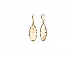 Light Brown LCT Crystal Marquise Gold Hook Earrings