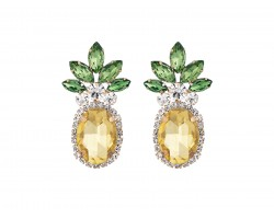 Yellow Crystal Pineapple Post Earrings