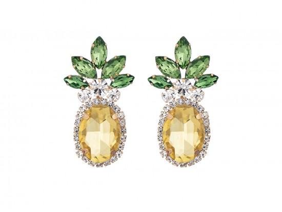Yellow Crystal Pineapple Post Earrings
