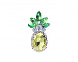 Yellow Crystal Pineapple Pin Brooch