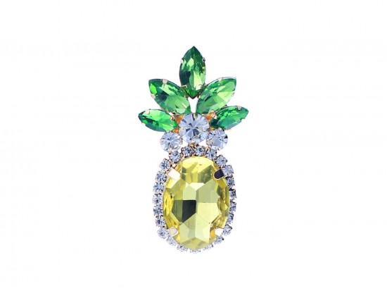 Yellow Crystal Pineapple Pin Brooch