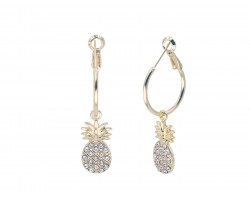 Gold Pineapple Crystal Hoop Earrings