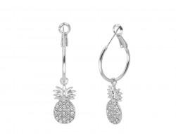 Silver Pineapple Crystal Hoop Earrings