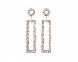 Clear Crystal Rectangle Gold Dangle Post Earrings