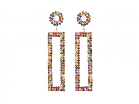 Multi Crystal Rectangle Gold Dangle Post Earrings