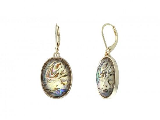 Beige Abalone Faux Oval Gold Euro Clip Earrings