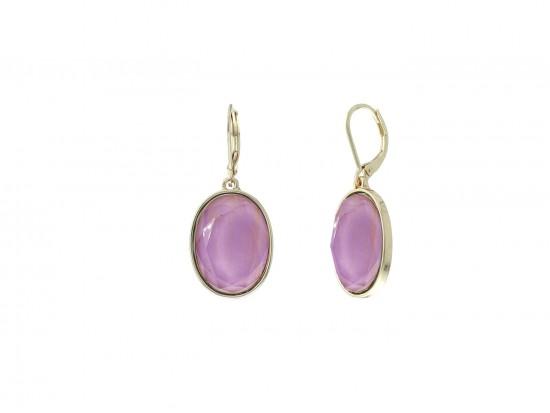 Violet Purple Oval Gold Euro Clip Earrings