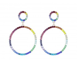 Gold Multi Crystal Circle Dangle Post Earrings