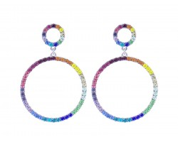 Silver Multi Crystal Circle Dangle Post Earrings