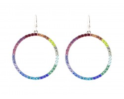 Gold Multi Crystal Circle Hook Earrings