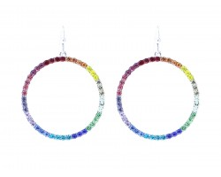 Silver Multi Crystal Circle Hook Earrings