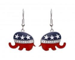 American Flag Elephant Hook Earrings