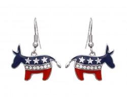 American Flag Donkey Hook Earrings