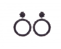 Black Seed Bead Round Hoop Dangle Post Earrings