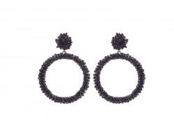 Black Seed Bead Round Hoop Dangle Post Earrings