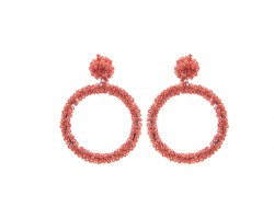 Coral Seed Bead Round Hoop Dangle Post Earrings