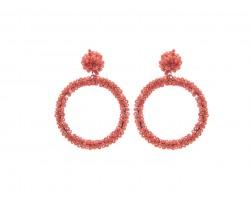 Coral Seed Bead Round Hoop Dangle Post Earrings