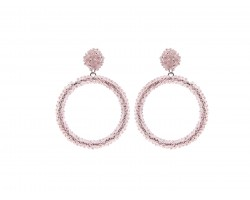 Pink Seed Bead Round Hoop Dangle Post Earrings