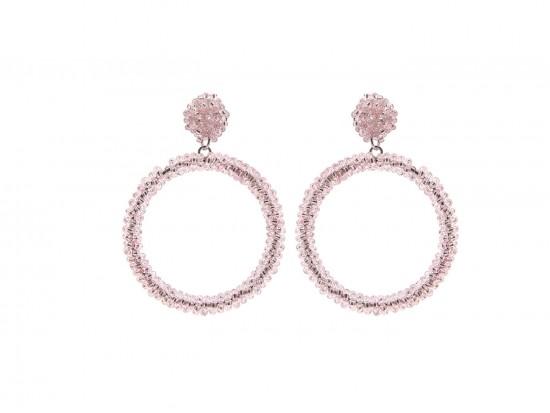 Pink Seed Bead Round Hoop Dangle Post Earrings
