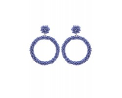 Light Blue Seed Bead Round Hoop Dangle Post Earrings