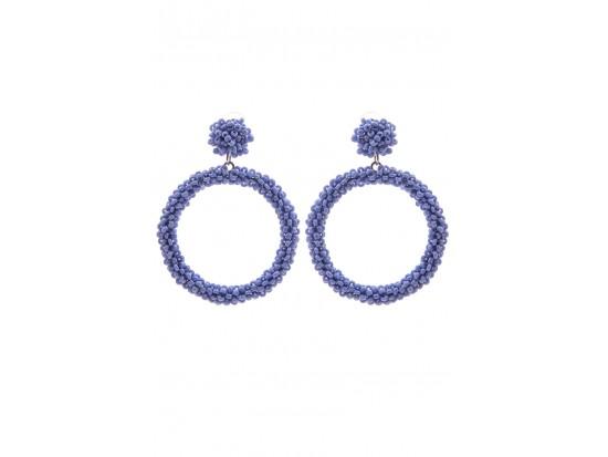 Light Blue Seed Bead Round Hoop Dangle Post Earrings