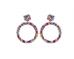 Multi Seed Bead Round Hoop Dangle Post Earrings