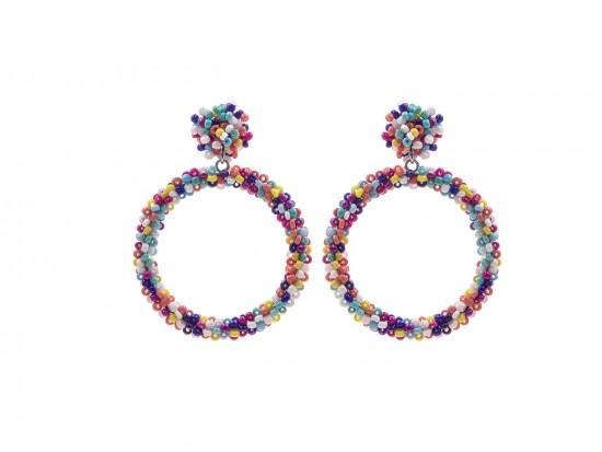 Multi Seed Bead Round Hoop Dangle Post Earrings