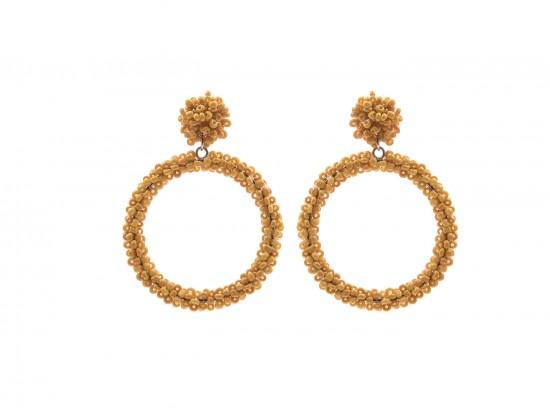 Mustard Yellow Seed Bead Round Hoop Dangle Post Earrings