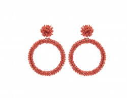 Orange Seed Bead Round Hoop Dangle Post Earrings
