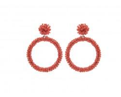 Orange Seed Bead Round Hoop Dangle Post Earrings