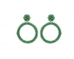 Green Seed Bead Round Hoop Dangle Post Earrings