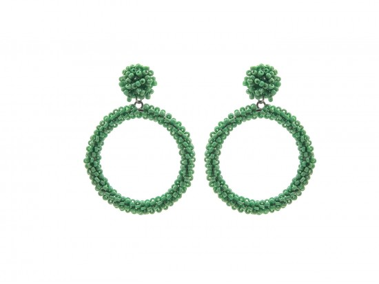 Green Seed Bead Round Hoop Dangle Post Earrings
