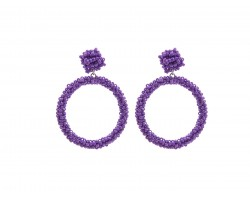 Purple Seed Bead Round Hoop Dangle Post Earrings