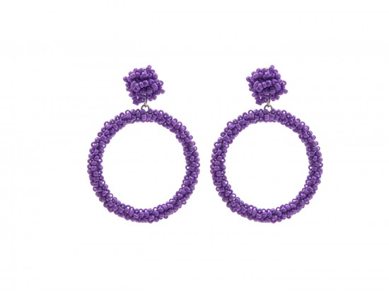 Purple Seed Bead Round Hoop Dangle Post Earrings