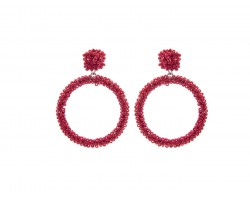 Red Seed Bead Round Hoop Dangle Post Earrings